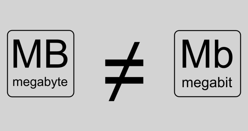 Maalesef 1 Megabit = 1 Megabyte değil. Megabit'i 8'e bölmeniz gerekecek.